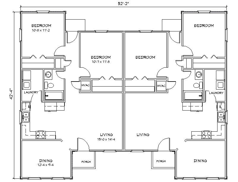 Duplex house plan j949d plansource for Side by side plans