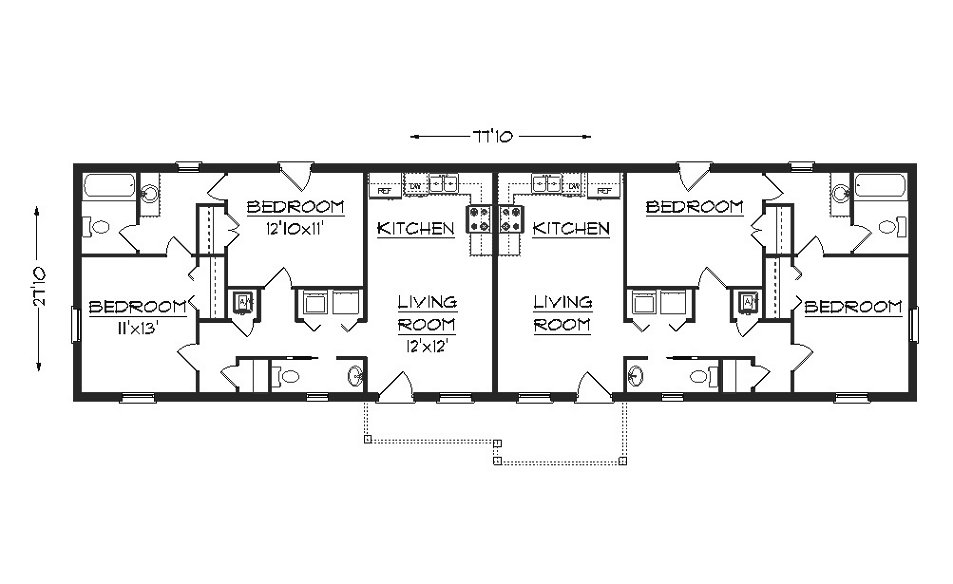 Duplex House Plan J1617d