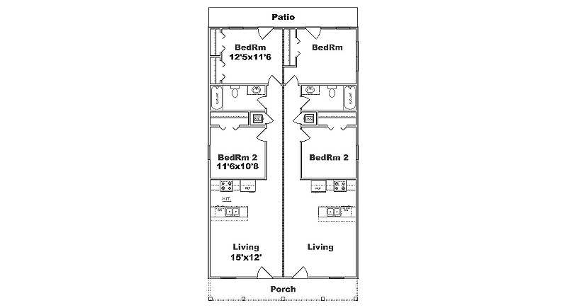 Narrow lot duplex plan j1690d b for Duplex house plans for narrow lots