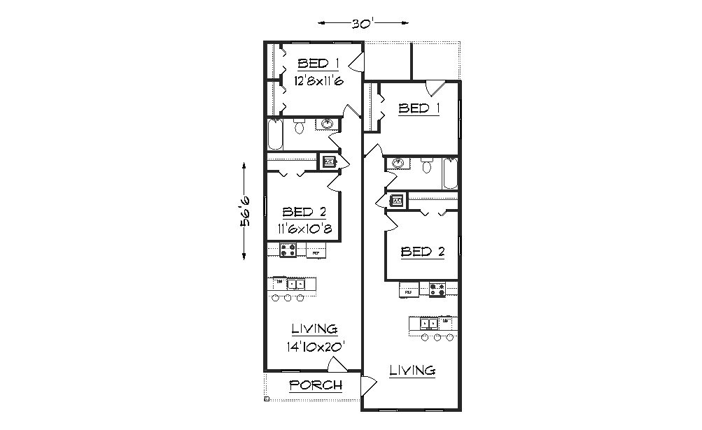 Duplex j1690d plansource inc for Duplex plans for small lots