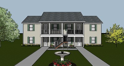 4-plex apartment plan with large entry porch - J0124-13-4