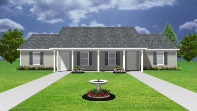 Apartment plan j0124 13 4b 4plex plansource inc for Cost to build a duplex house