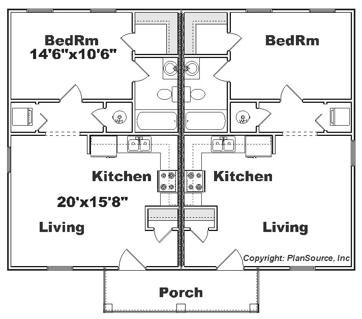 Duplex plan j0129 14d for One bedroom duplex plans
