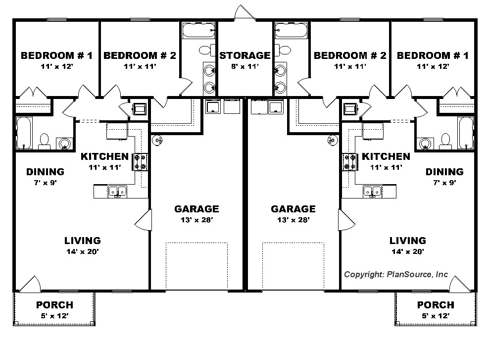 2 Bedroom Duplex Plan Garage Per Unit J0222 13d 2