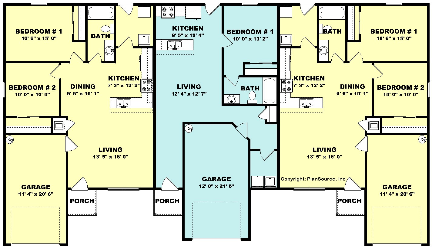 Triplex plan j0324 16t for Triplex floor plans