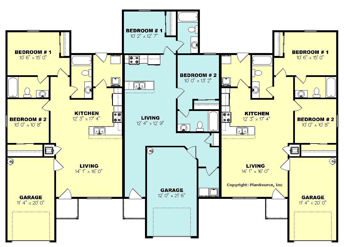 Duplex with garage plans uncategorized duplex house plan for Duplex plans with garage in middle