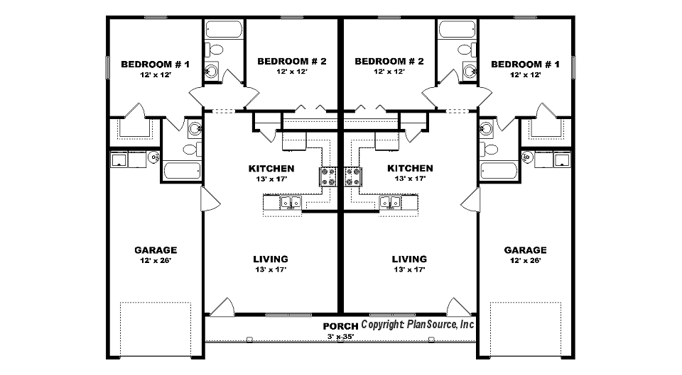 Duplex plan with garage j0408 14d plansource inc for Duplex plans and cost