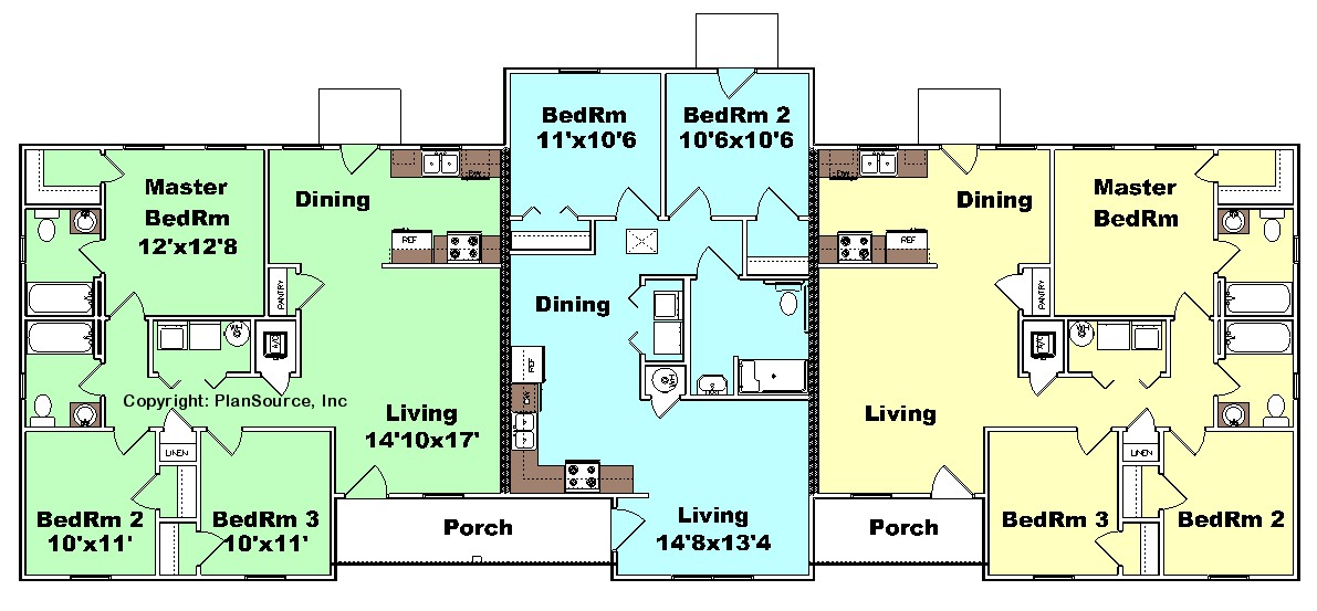 Triplex plan j0505 11t plansource inc multi family for Triplex floor plans