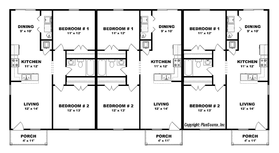 Triplex plan j0605 14t plansource inc for Triplex floor plans