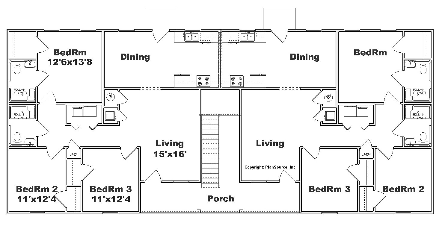 Apartment plan j1031 4 11 plansource inc Fourplex apartment plans