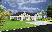 duplex house plan | J1042d Rendering
