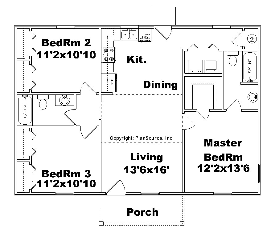 Smallest 3 Bedroom House Plan Floor Plans Home Designer: House Plan J1067
