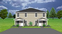 J1124-10d, townhouse duplex floor plan