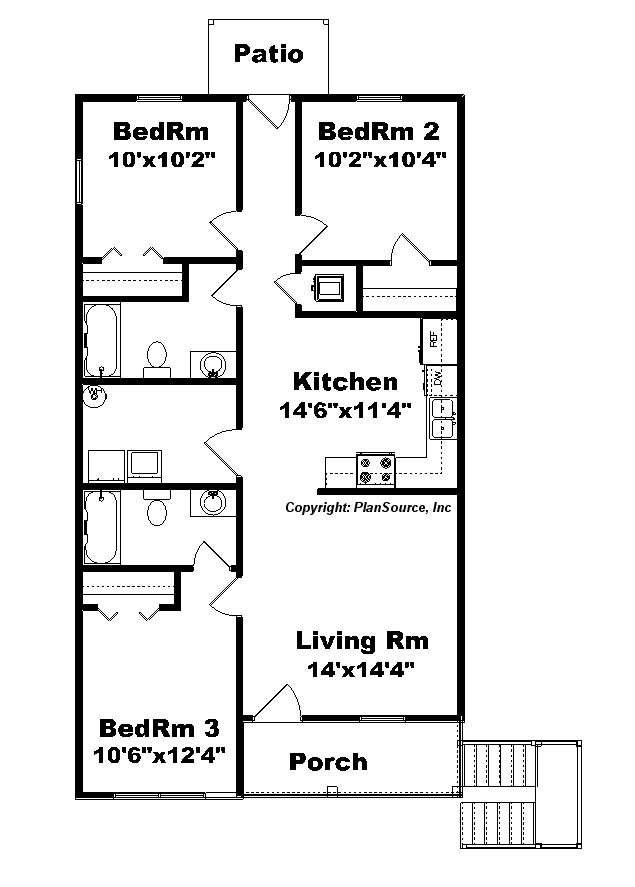 Duplex plan j1138d 2 plansource inc for Stacked duplex floor plans