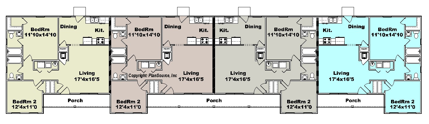 Apartment Plan J1964 4b Plansource Inc