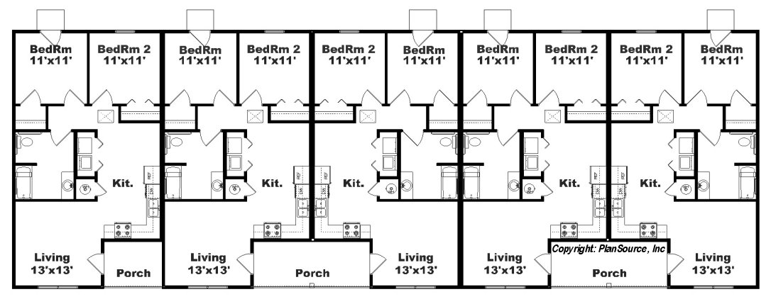 Apartment plan with 5 units j748 5 plansource inc for Apartment plans 4 plex