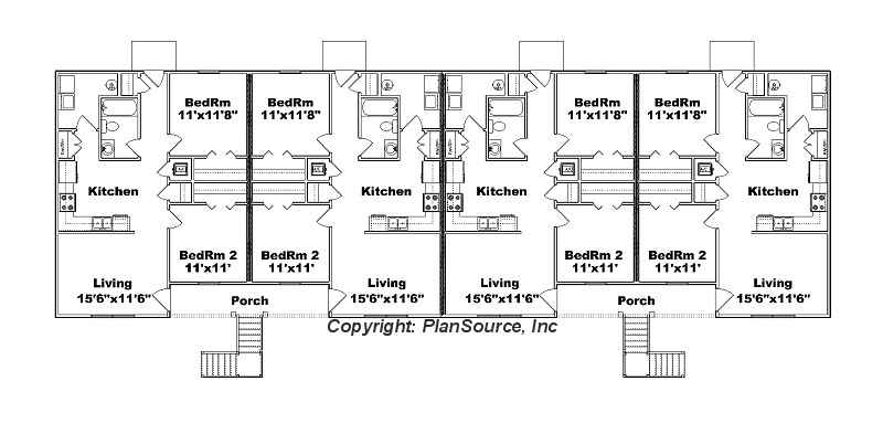 8 unit apartment plan j778 8 for Apartment building plans 4 units