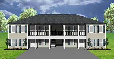 Popular 2 bedroom fourplex plan, J891-4-12
