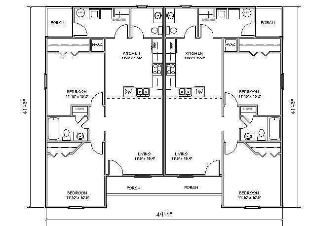 Duplex house plan j918d plansource inc Duplex floor plans with garage