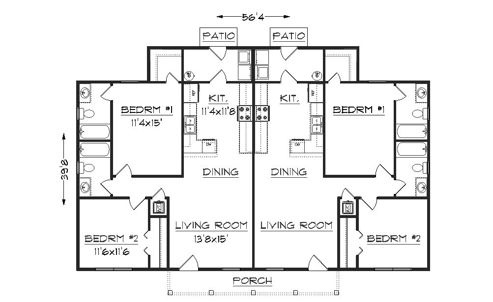 Duplex plan j942d for Duplex apartment plans