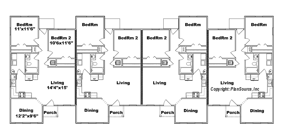 J949-4, fourplex floor plan